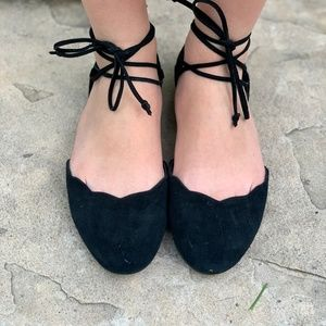 Nordstrom BP. Sophie Lace-up Flats Scalloped Suede